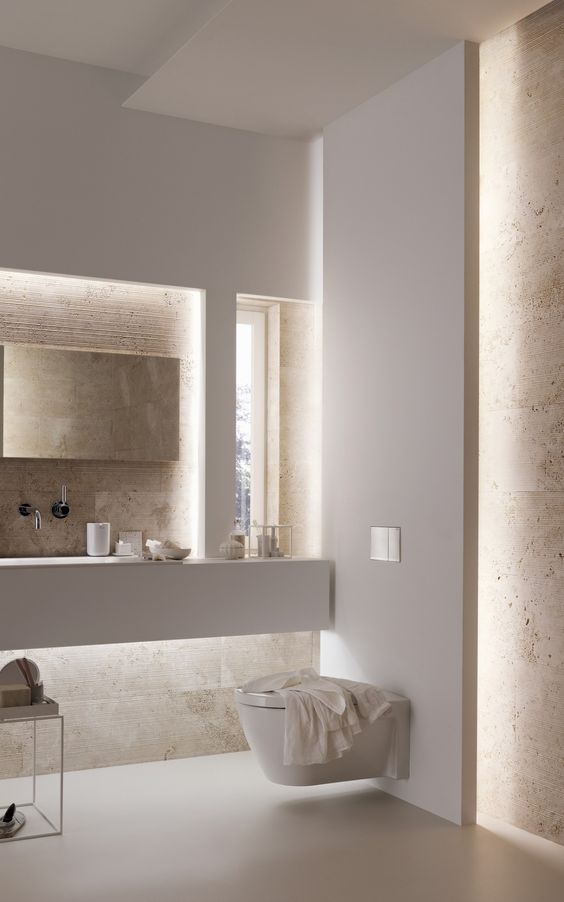 built-in lights are the best solution for a modern or minimalist bathroom, they will bring an edge to design
