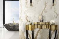 black and gold pendant lamps perfectly match the interior and color scheme and add chic to the bathroom