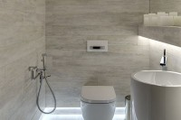 built-in ceiling lights are great even for a small bathroom, they don't take any space and are always cool