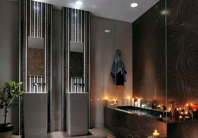 built-in ceiling lights are great for a modenr bathroom, they don't take any space and look edgy