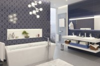 a statement molecule-inspired chandelier is a cool idea to accent the bathing zone and it looks very edgy