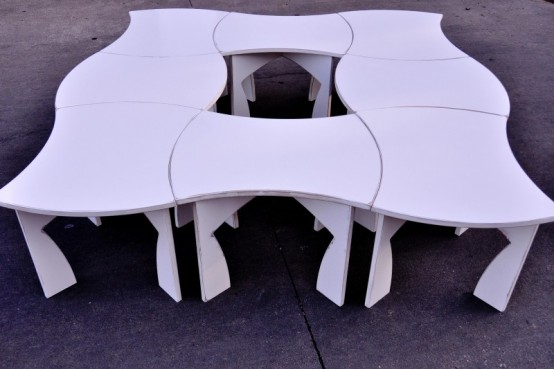 Creative Modular White Table That Can Be Packed Flat