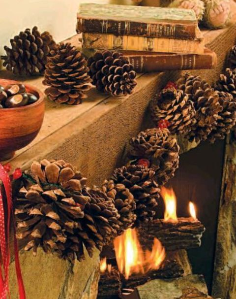 a cool garland of large pinecones and berries cna be a nice solution for the fall and winter, hang it anywhere you want