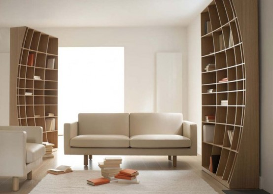 Creative Sculptural Bookcase In Two Halves