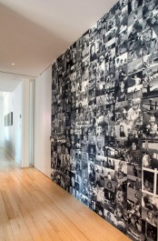 a whole wall covered with various black and white family photos is a cool and bold statement for any space, use any blank wall of your home