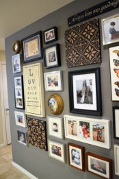 a large gallery wall with colorful photos and artworks in mismatching frames is a creative idea with fun decor