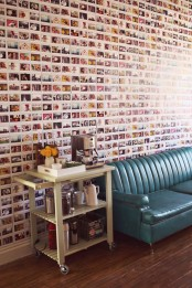 a whole wall covered with colorful Instagram pics all over is a perfect idea for social net fans and it brings a touch of fun