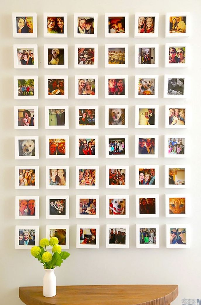 a fun gallery wall of Instagram photos in matching white frames is a stylish idea with your favorite pics