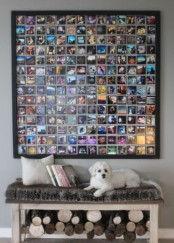 an Instagram wall photo display in a large frame is a cool idea for any space and is always in trend