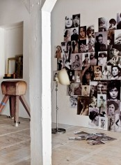 a heart-shaped black and white photo display right on the wall is a creative and cool decor idea