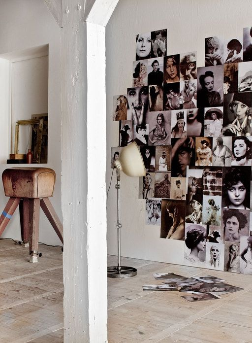a heart shaped black and white photo display right on the wall is a creative and cool decor idea