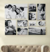 a black and white gallery wall with unframed pics that match to create a cohesive shape