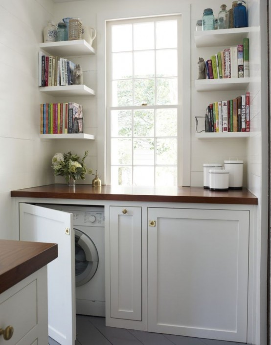 Create a practical laundry space in an awkward corner.