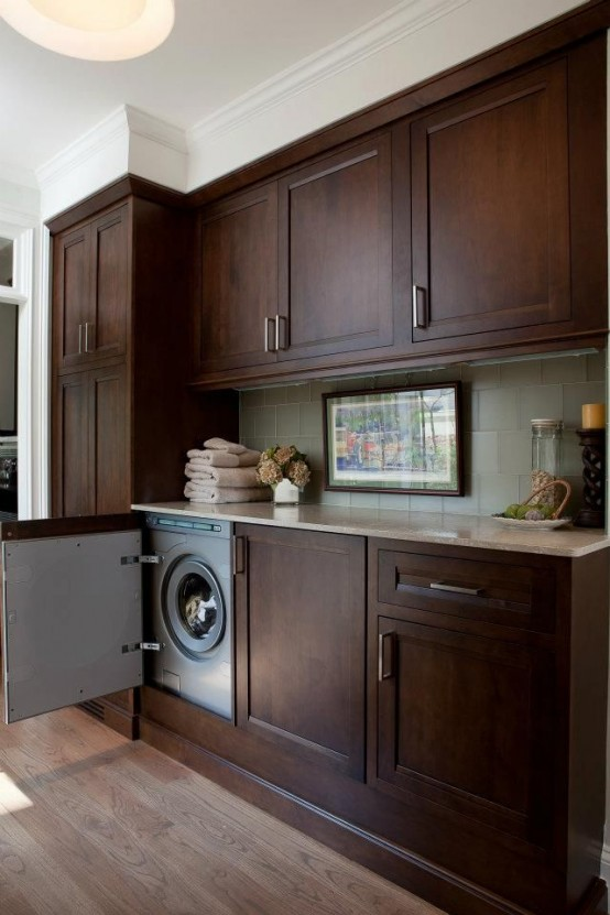 With a right door you can seamlessly hide a washing machine under a kitchen counter.