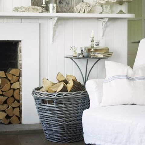 a basket with firewood next to a non-working fireplace is a very nice and lovely idea for any space, it adds coziness