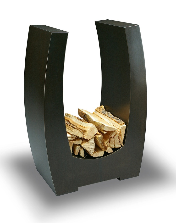 a sleek metal firewood stand is a lovely idea for any modern or contemporary space, reminds of a horseshoe but in a more modern shape