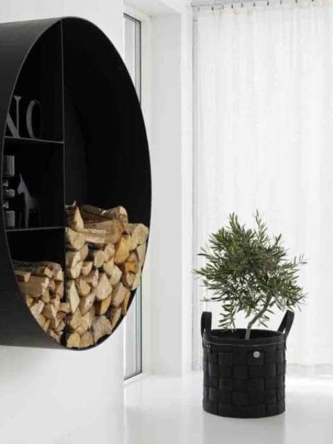 a stylish modern firewood storage unit attached to the wall can also have some shelves for displaying objects
