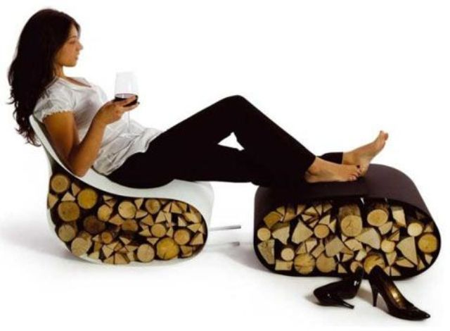 a unique furniture piece   a white chair and a brown ottoman that both hold some firewood, it's a cool and fresh idea to store it