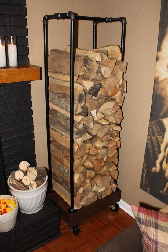 an industrial wood and metal firewood stand is a great idea for a rustic or farmhouse room and can be used outdoors, too