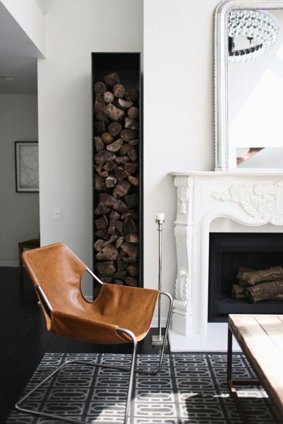 an elegant space with a vintage fireplace and a small and narrow niche by it is a lovely and stylish idea with a modern feel