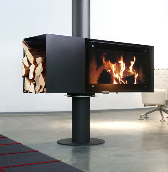 a contemporary fireplace with a small fiirewood storage compartment on the side is a very stylish and cool solution for any space