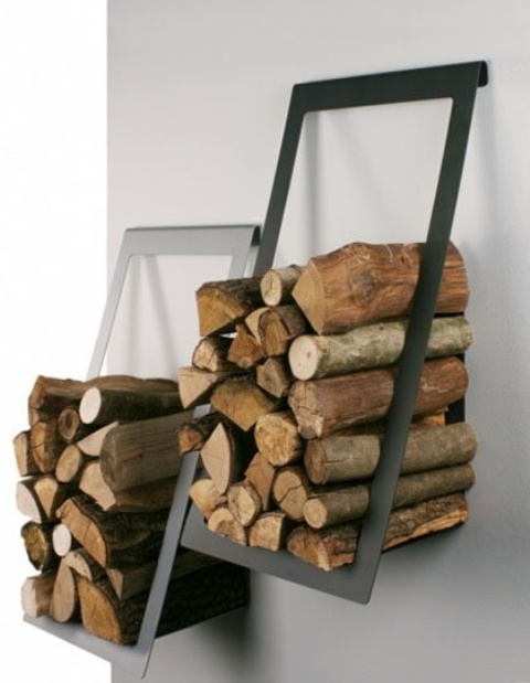minimalist metal firewood holders attached to the wall are ideal for modern, contemporary and minimalist spaces
