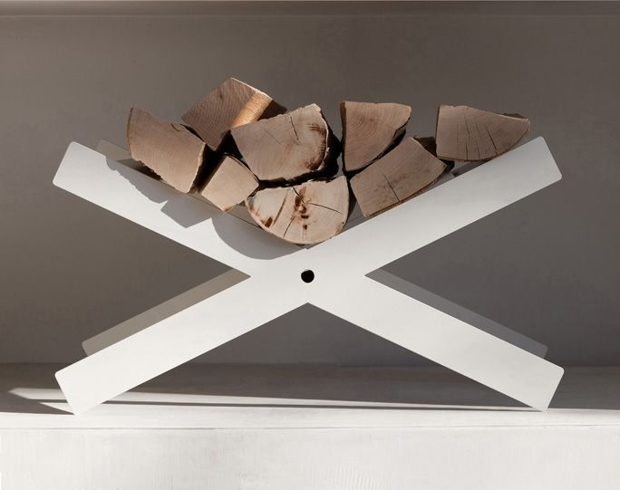 a trestle white metal stand is a cool minimalist idea for indoors or outdoors and will match many spaces