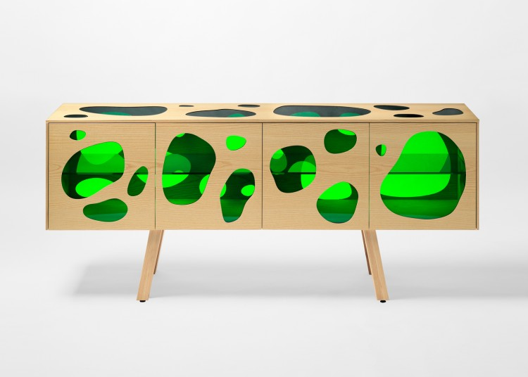Cuboid Aquario Buffet With Colored Glass Inserts