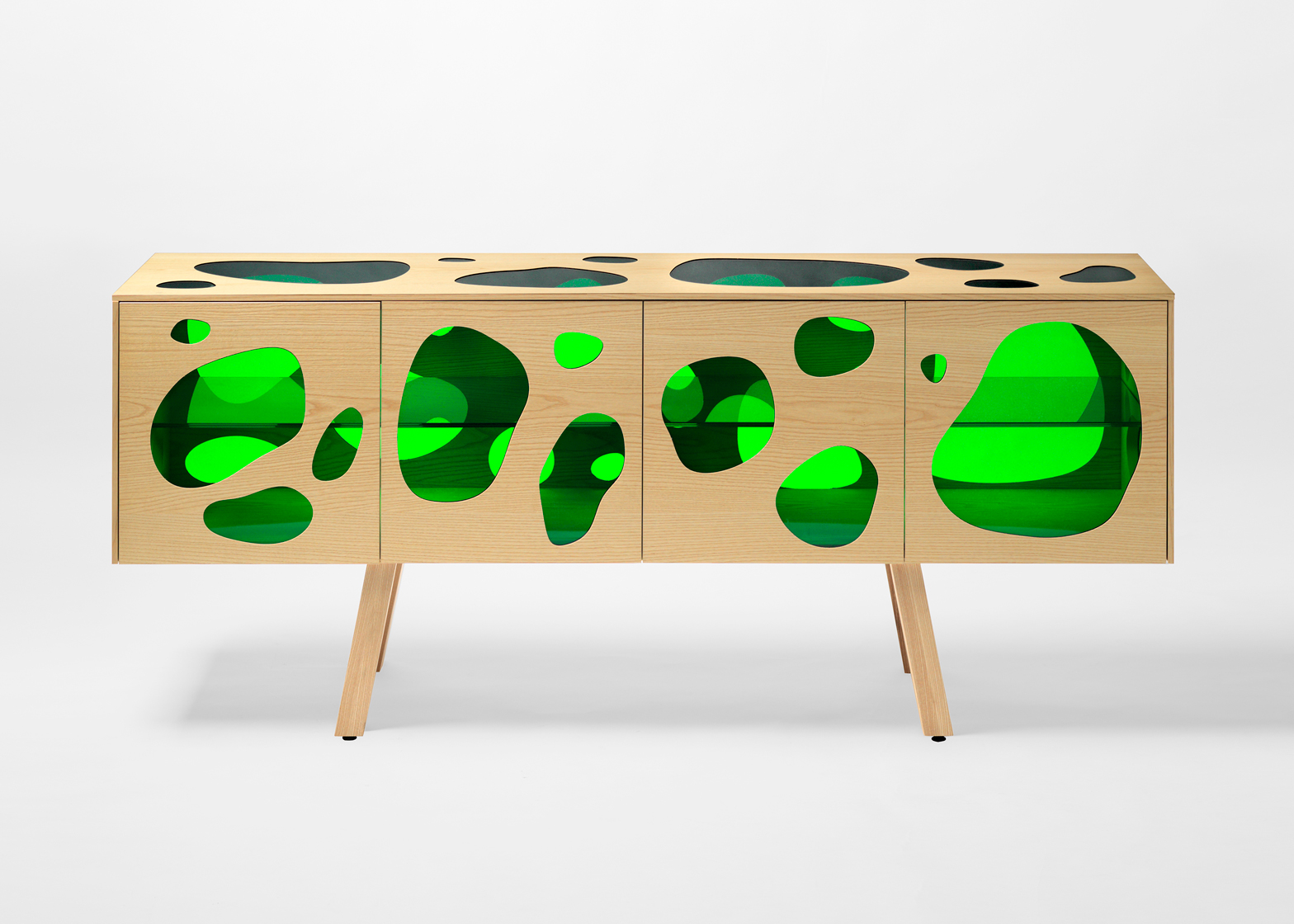 Picture Of cuboid aquario cabinet with colored glass inserts  1