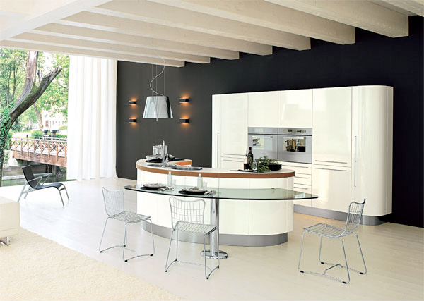 Curved kitchen island from record cucine digsdigs Modern kitchen island ideas