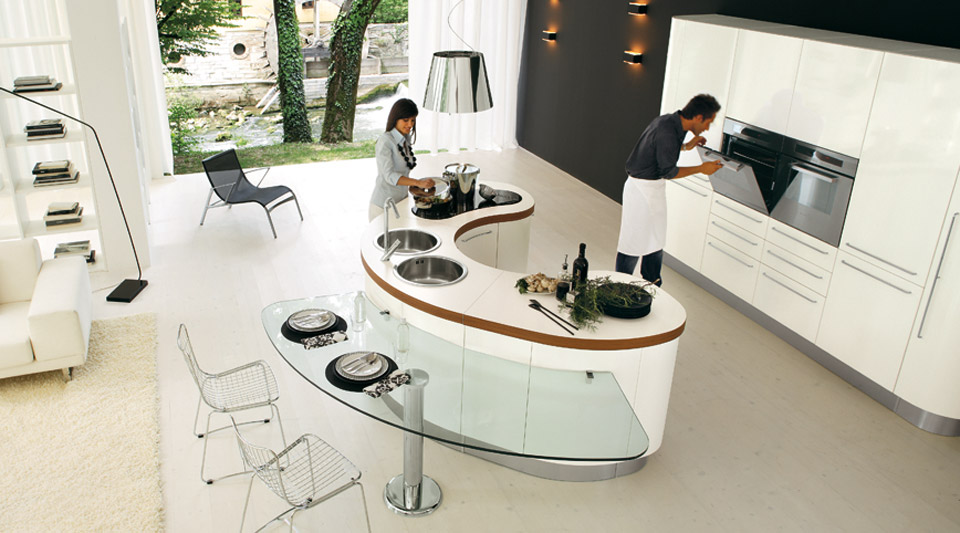 Curved KItchen Island from Record Cucine - Curved KItchen Island From Record Cucine - DigsDigs