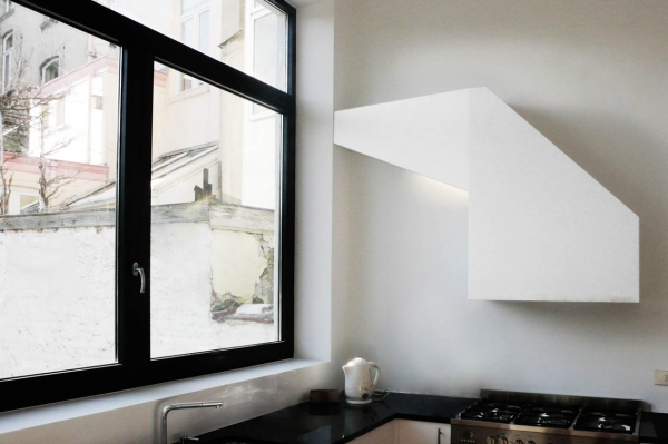 Custom Made Sculptural Pure White Kitchen Hood