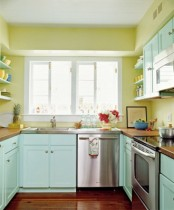 a colorful kitchen with yellow walls, blue cabinets, wooden coutnertops is a very bright, fun and stylish space