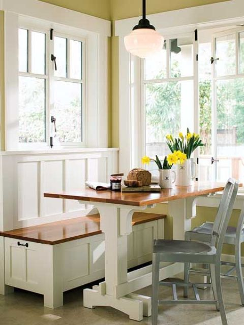 40 cute and cozy breakfast nook d cor ideas digsdigs for Galley kitchen with breakfast nook