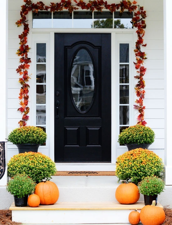 A leaf garland above the door is the most simple piece of fall decor you could make.