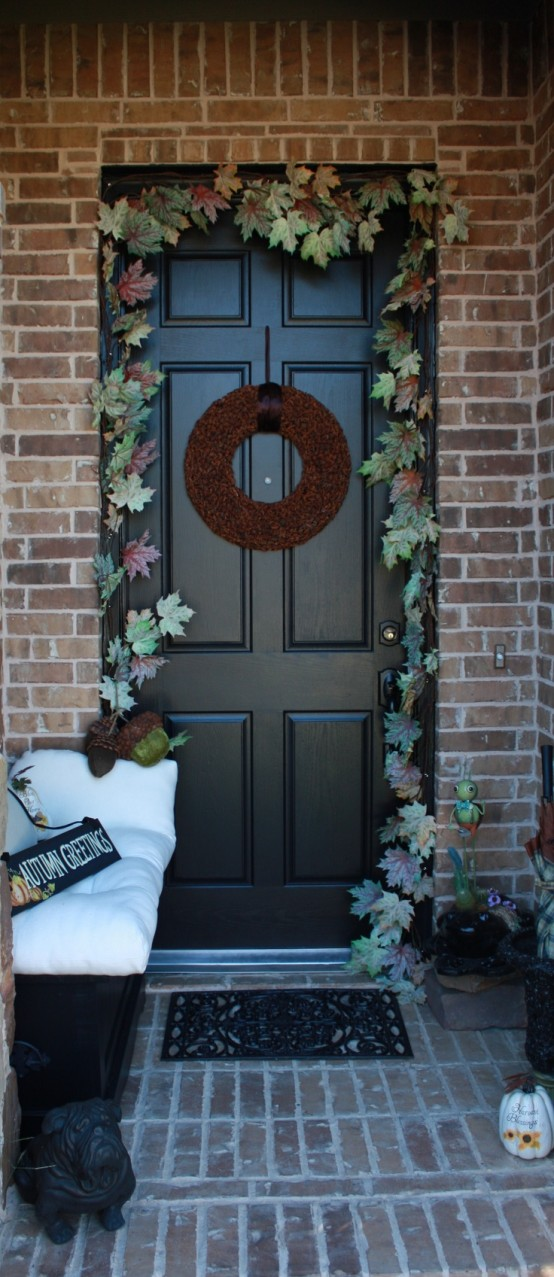 Faux leaves are perfect to make a garland over your front door.