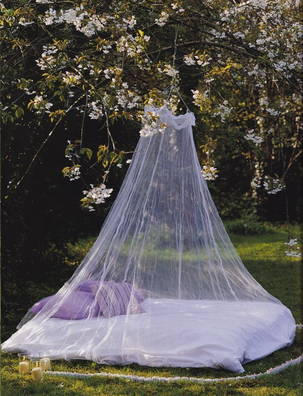 a daybed in the garden with a mosquito net that highlights it and save a person from bugs