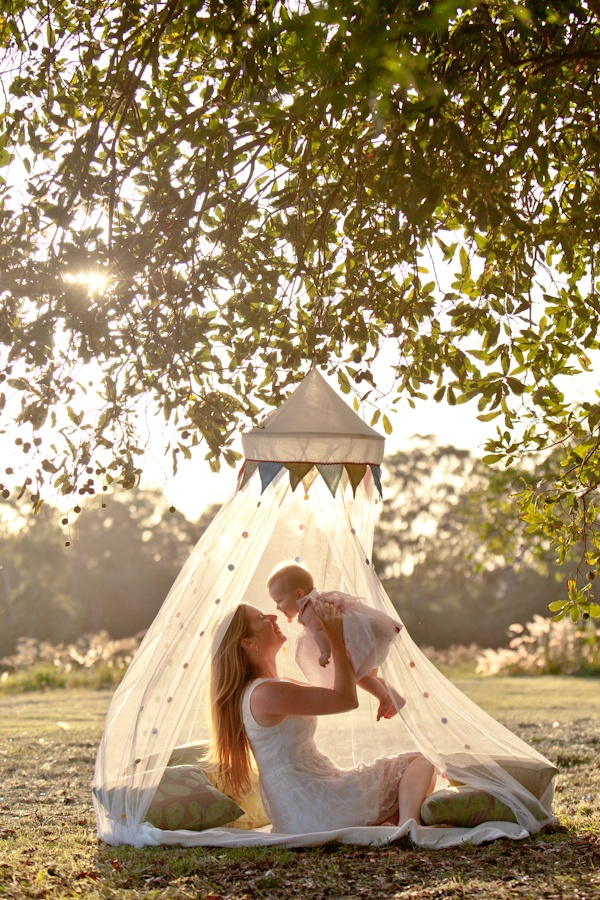 a cozy setting with pillows with a mosquito net over it and a decorative detail over the net for a cute look