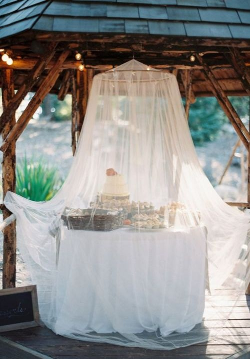 cover your food or drink station with a mosquito net to keep the bugs away from it