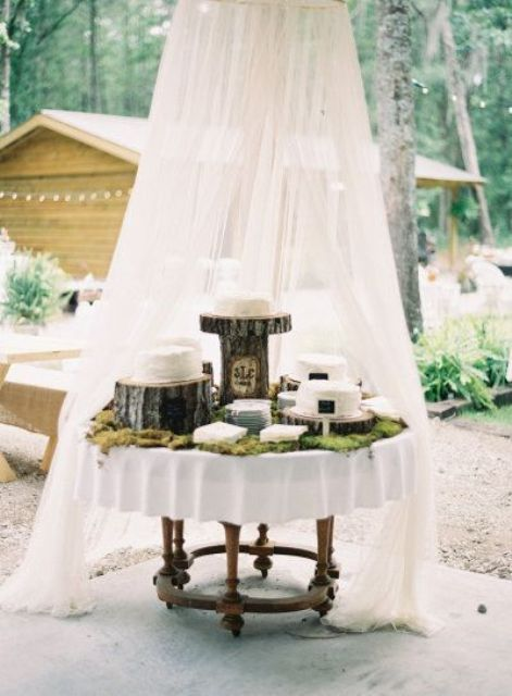 a mosquito net over a dessert table to help save the food from bees and bugs