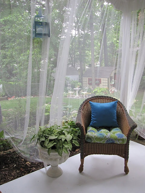 cover the porch or terrace with mosquito net curtains for privacy, to separate spaces and of course get saved from bugs