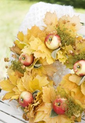 fall leaves could be used to design a fall wreath