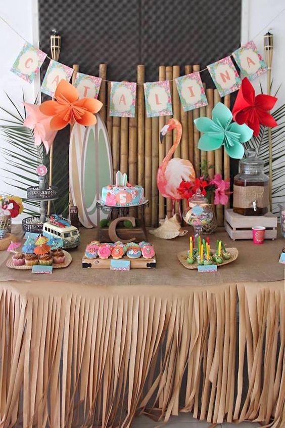girl's baby shower table decor
