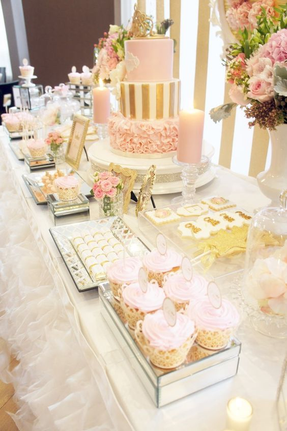 a girlish pink and gold dessert table with stripes, ruffles, candles and gold frames for a girl's baby shower