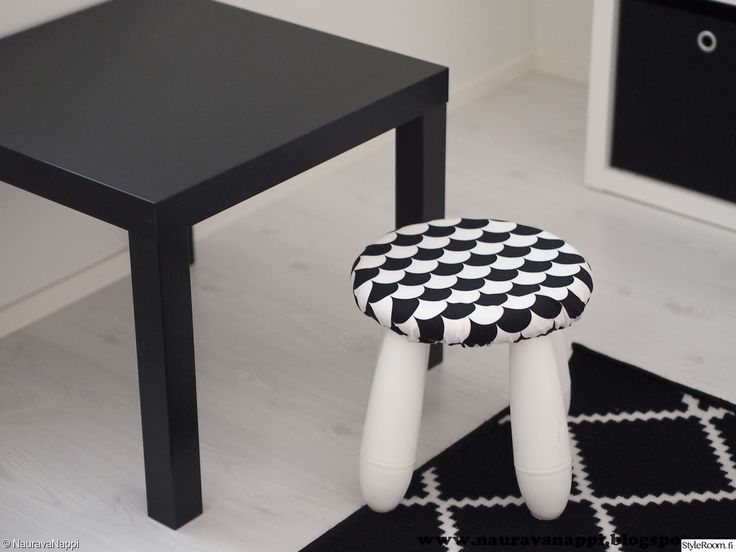 a white IKEA Mammut stool with a bold checked cover is a cool idea and this cover it easy to make or change