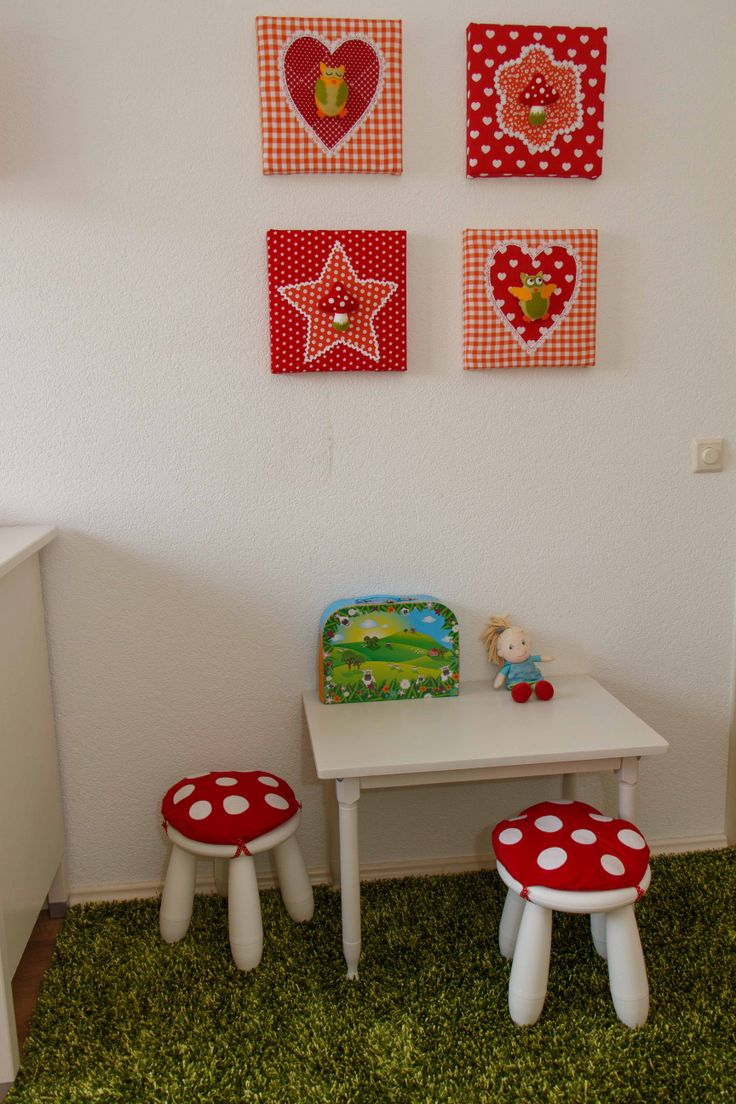 white Mammut stools with bright pillows on top look like little mushrooms and your kids will be delighted to sit on