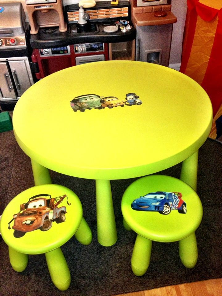 bright neon green Mammut stools and a matching mini table spruced up with removable stickers from kids' favorite cartoons
