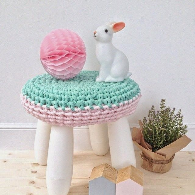 a pastel pink and mint crochet cover will make this IKEA Mammut stool bright and soft to sit on
