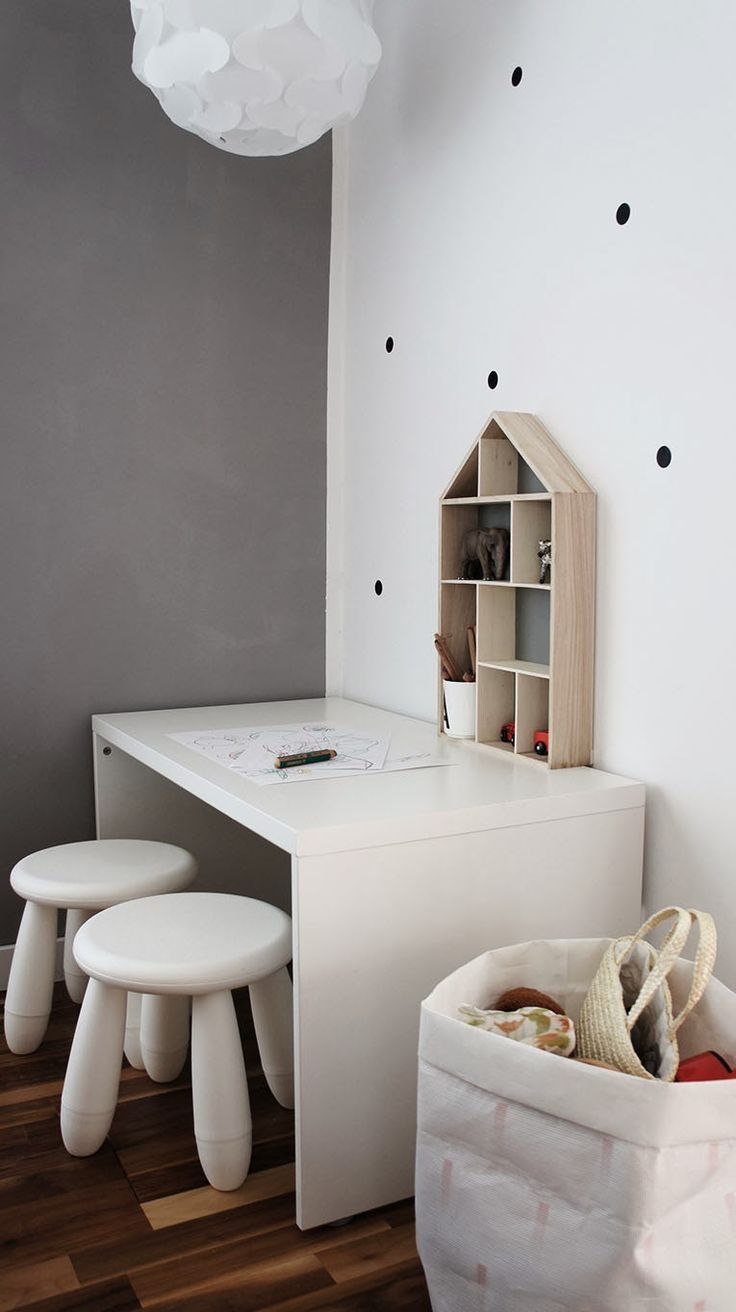 finish your minimalist kids' space with white IKEA Mammut stools to make them cooler
