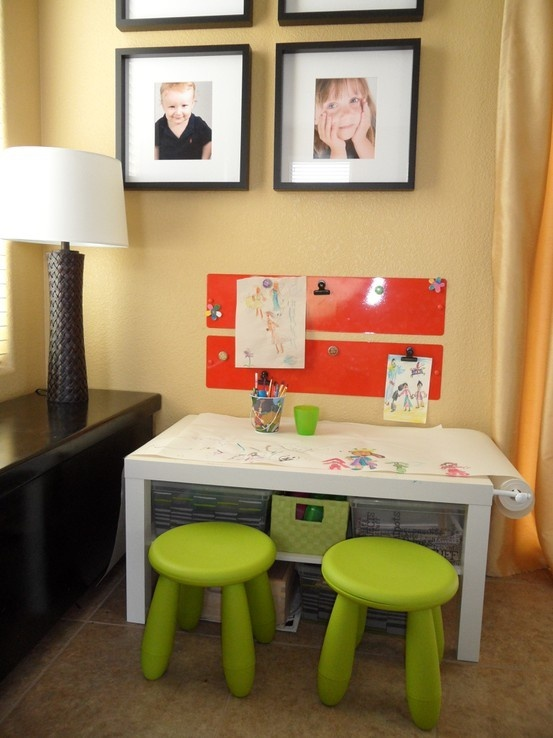 bright neon green IKEA Mammut stools will add a bold touch of color and brighten up the kids' space